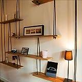 librerie Mensola a Muro in Legno massello con mensole in Corda di...