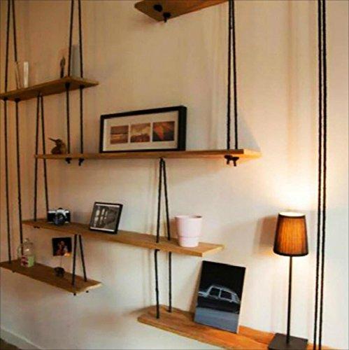 Estanterías Estante de pared de madera maciza con estantes de cuerda de cáñamo Colgante de pared para sala de estar como estante de almacenamiento Estante de pared decoraciones de diseño estilo vintag
