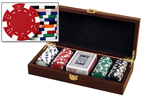 DA VINCI Mahogany Wood Poker Chip Set with Dice Striped 11.5 Gram Chips (100 Chip Set)