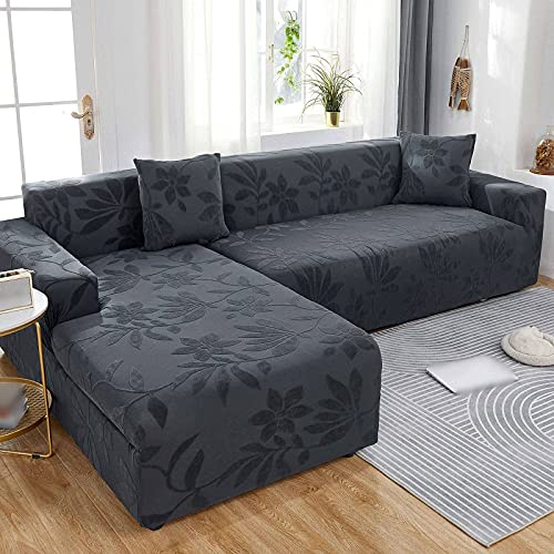 Sofabezüge Schnittsofabezug,Stretch L-Form Sofabezug 2-teiliger Sofabezug Waschbar rutschfest Elasthan Möbelschutzbezug für Wohnkultur-Dunkelgrau-3+5 Sitzer