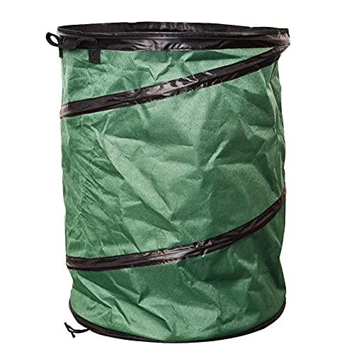 TLM Toys Saco de basura para jardín, 108 L, tejido Oxford, impermeable, redondo, plegable, para hojas de jardín, basura de camping al aire libre, 50 x 55 cm