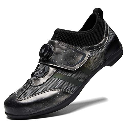 LQX SPD Road Cycling Shoes Unisex MTB Bicycle Shoe Lockless Breathable Bike Shoes Anti-Skid Cycle Shoes with Spin Wear Resistant Lightweight (Color : Gray, Size : UK10.5/EU44/US11)