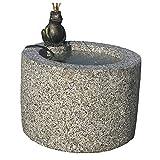 Dehner Gartenbrunnen Frosch inkl. LED-Beleuchtung, Ø 45 cm, Höhe 45 cm, Granit, grau
