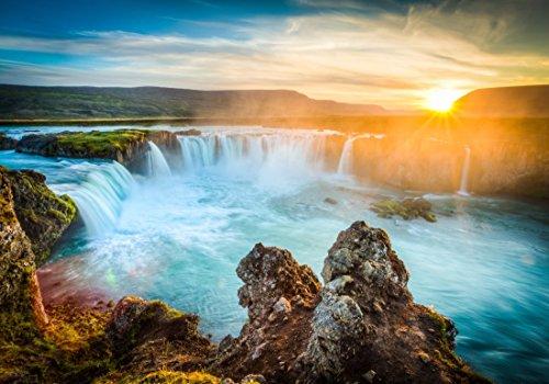 XXL Poster 100 x 70cm (S-836) Imposante Godafoss Wasserfälle in Island im Sonnenuntergang (Lieferung gerollt!)