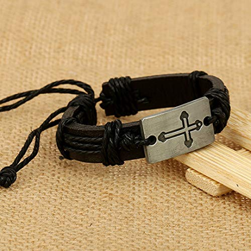 Adjustable Hook//Multilayer Leather Hand Braided Bracelet yayoushen Mens Bracelet