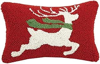 Peking Handicraft Prancing Winter Reindeer Christmas Mini Hooked Wool Pillow - 8