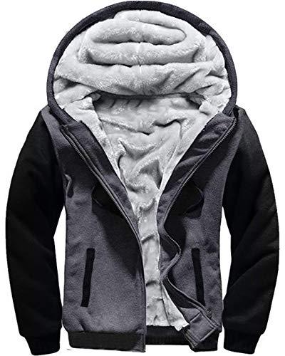 MACHLAB Men's Pullover Winter Workout Fleece Hoodie Jackets Full Zip Wool Warm Thick Coats DarkGreyBlack#W02 M