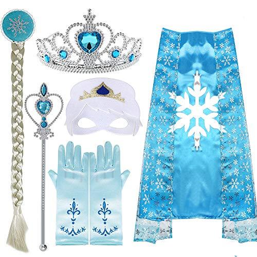 vamei Princesa Elsa Disfraz Niña Capa Collar Corona Guantes