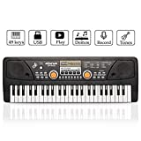 JINRUCHE Piano Keyboard, 49 Keys Musical Keyboard Piano for Kids, Early Learning & Birthday Gifts for Chlidren (Black)