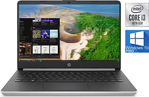 HP 14' HD LED Premium Laptop Computer: 10th Gen Intel Core i3-1005G1 Upto 3.4GHz, 8GB RAM, 128GB M.2 SSD, AC WiFi, Bluetooth 4.2, SD Card Reader, Webcam, HDMI, USB Type-C - Windows 10 Pro