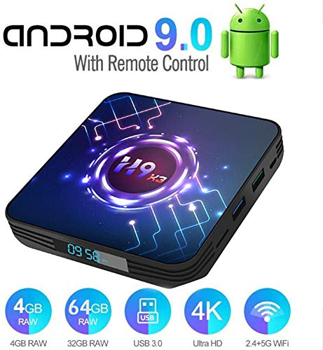 DOOK Android TV Box Smart tv Box /4G+64G/ H9-X3 Android 9.0 TV Box mit Amlogic S905X3 64-bit Quad core ARM Cortex-A55/ unterstützt WiFi 2.4G/5.8G /BT 4.0/ 3D 8K/USB 3.0/ H.265