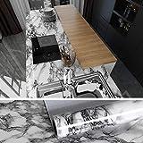 VEELIKE Adhesif Marbre Papier Peint Blanc et Gris Papier Peint Vinyle Rouleau pour Meuble Cuisine Revêtement Plan de Travail...