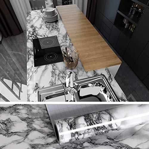 VEELIKE Papel Pintado Autoadhesivo Lavable 40cm x 300cm Vinilo Papel Adhesivo para Encimera de Cocina Papel Vinilo Muebles de Mármol Gris para Puertas de Armario
