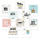 dedeco 20x Postkarten Grußkarten im Polaroid-Format (Geburtstag, Liebe)