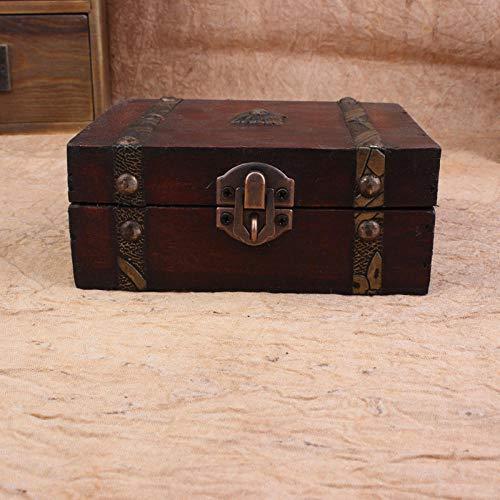 YYQLLXH Caja del tesoro de madera vintage, caja de almacenamiento de joyería decorativa pequeña joyería, caja del tesoro hecha a mano, decoración de fiesta de cumpleaños para mujeres