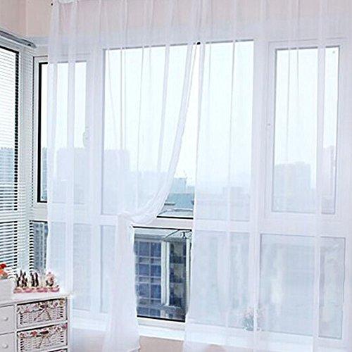 Cortina de tul, ventana de gasa para dormitorios, con bolsillo para varilla, decoración del hogar, cenefas transparentes, panel con bufanda para interiores, blanco, Tamaño libre