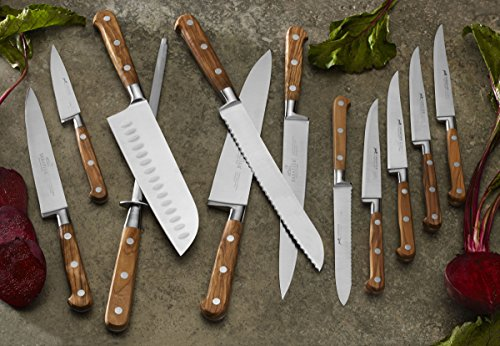 Sabatier Full-Tang Triple Rivet High Carbon Stainless Steel Filet Knife with Olivewood Handle, 6-Inch, Natural