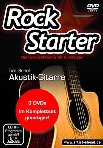 Das Rockstarter Vol. 1-3 Komplettset - Akustikgitarre: 3 DVDs! Gitarrenschule. Unterricht für Anfänger. Training. School Of Rock. Einfach Akustikgitarre lernen.