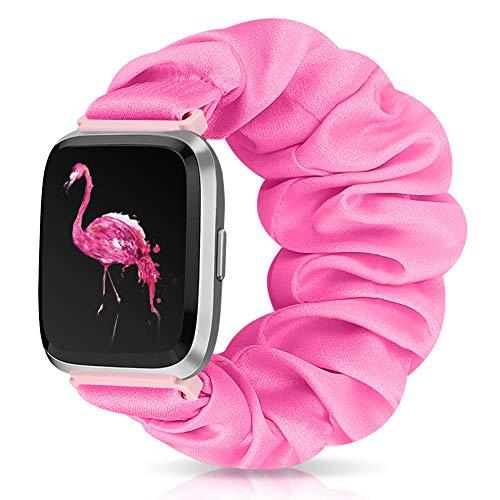 Runostrich Scrunchie Elastic Watch Band Women for Fitbit Versa/Versa 2/Versa Lite/SE, Floral Breathable Replacement Strap Scrunchy Wristband Bracelet Accessories (S Pink, M)