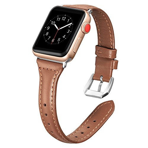 Secbolt Leather Compatible Apple Watch Band 42mm 44mm Iwatch Series 6 5 4 3 2 1 SE Slim Replacement Retro Wristband Strap Iwatch Stainless Steel Buckle, Brown
