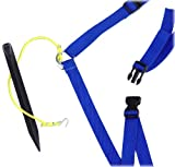 Park & Sun Sports Adjustable Outdoor Volleyball Boundary Webbing with Ground Stakes: 1' Wide Court Line Marker, Blue