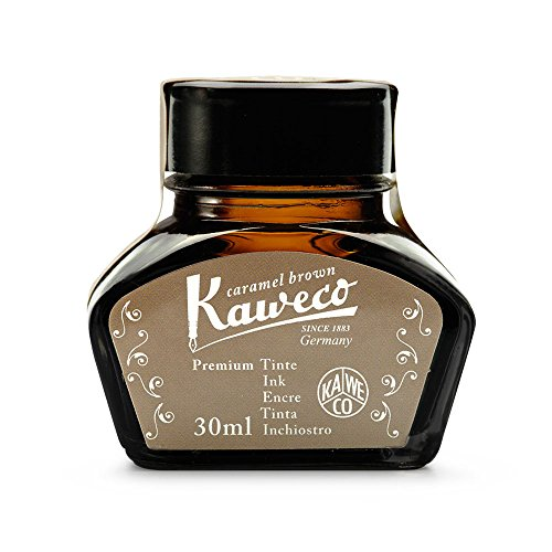 Kaweco Tintenglas Caramel Brown 30 ml I hochwertige Premium Tinte für Füller im Tintenfass I Füller Tintenfass mit schlichtem Design und mit Kaweco Gütesiegel I Schreibtinte in Karamellbraun