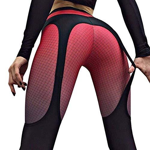 Leggings Push Up Mujer Mallas Pantalones Deportivos Legging Damas Yoga De Alta Cintura Elásticos Y Transpirables Para Yoga Running Fitness Con Gran Elásticos, Económico red,L