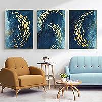 抽象的なキャンバスのポスターとプリントブラックブルーゴールデンフィッシュオーシャンウォールキャンバス絵画アート写真リビングルームの装飾(60x80cm)x3 フレームなし