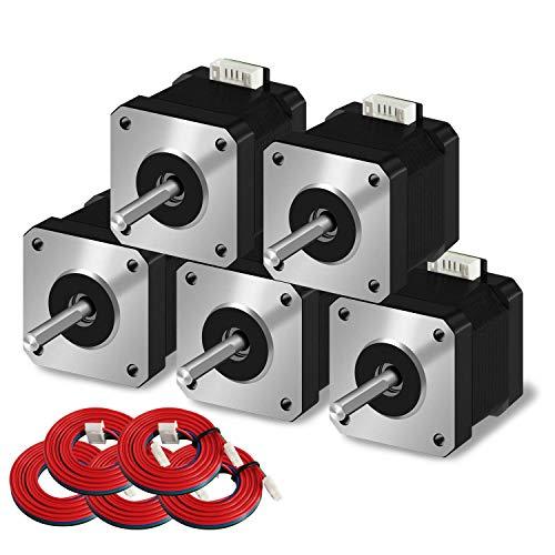 iMetrx Juego de motor paso a paso Nema 17 (5 piezas) / motor paso a paso (42 x 34 mm) 1,5 A 2 fase 4 hilos 1,8 grados con cable de 39,3 pulgadas para impresora Creality CR-10 10S Ender 3