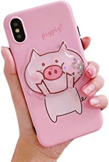 BONTOUJOUR Case for iPhone X/iPhone XS, Super Cute 3D Piggy Pattern Serie Design Soft TPU Cover Sparkle Blingo Flowing Liquid Moving Sand Protector Case- Big Face Pig