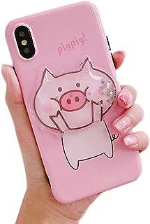 BONTOUJOUR Case for iPhone Xs Max, Super Cute 3D Piggy Pattern Serie Design Soft TPU Cover Sparkle Blingo Flowing Liquid Moving Sand Protector Case - Big Face Pig