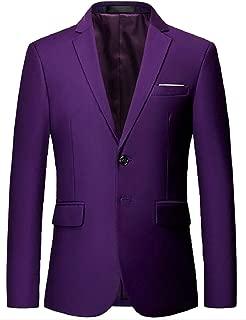 Sodossny-AU Men's Slim Blazer Jacket Solid Casual Two Button Sport Coats