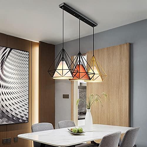 Nordic 3 cabezas Diamante Marco de alambre Luz colgante Tres Simple Creative Restaurante Suspensión ajustable Wirechandeliers para mesa de comedor Café Bar Restaurante Sala de estar E27 * 3