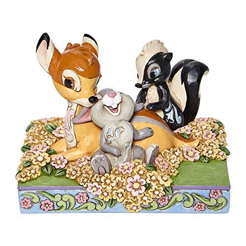 Jim Shore Disney Traditions 6008318 Bambi und Freunde in Blumen, 10,2 cm hoch