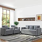 CasaStyle - Lexas Fabric 5 Seater Sofa Set 3+1+1 (Light Grey)