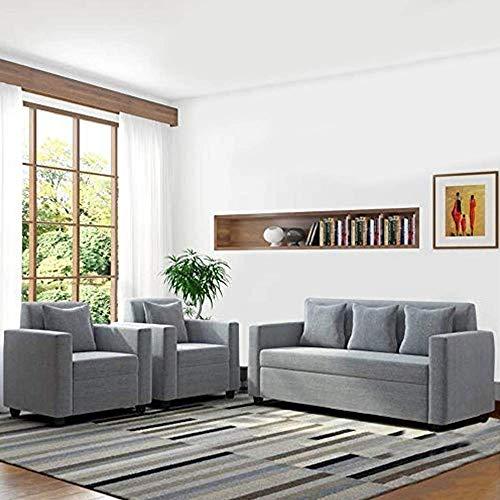 Furny Lexas Fabric 5 Seater 311 Sofa Set (Light Grey)