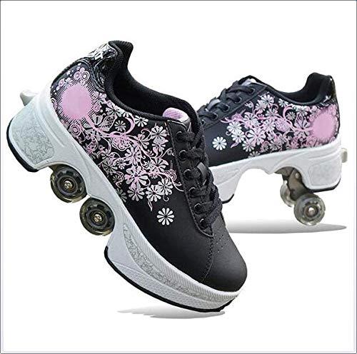 YXRPK Turnschuhe 4 Rädern Deformation Schuhe Doppelrolle Rollschuhschuhe 2 in 1 Laufschuhe Sneakers Rollen Skate Shoes Sportschuhe,36
