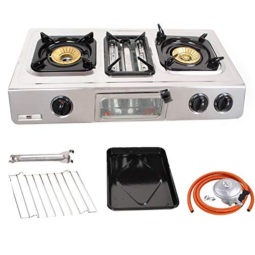 NJ GC-87 Camping Gas Stove 2 Burners Grill & Oven Stainless Steel Outdoor BBQ (Butane 21mm Clip-on)