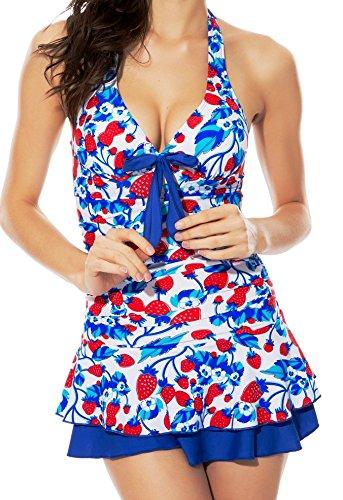 Women's One Piece Halter Push Up Strawberry Ruched Tankini Swim Dress