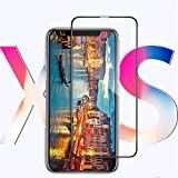 for iPhone Xs XS Max XR 5D Screen Protector Tempered Glass (Black, iPhone Xs)