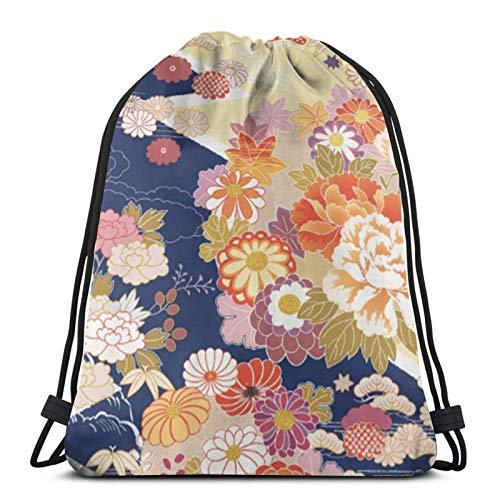 fgjfdjj Raditional Kimono Floral Personalizado Bolsa con cordón, Bolsa de Viaje Cuerda...