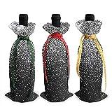 Bolsas de la cubierta de la decoración de la cubierta de la botella de vino impresa con purpurina plateada brillante, para suministros de fiesta de degustación de vinos navideños