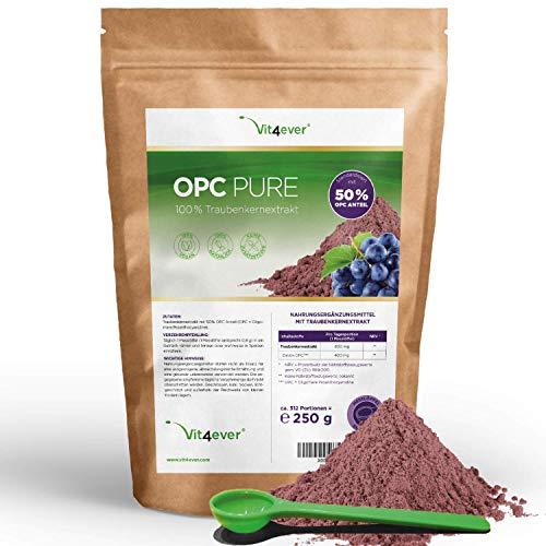 OPC Traubenkernextrakt Pulver - 250 g - 312 Portionen mit 800 mg - Reines OPC aus europäischen Weintrauben - 50% OPC Gehalt nach HPLC Methode (95% nach Bate-Smith) - Laborgeprüft - Vegan