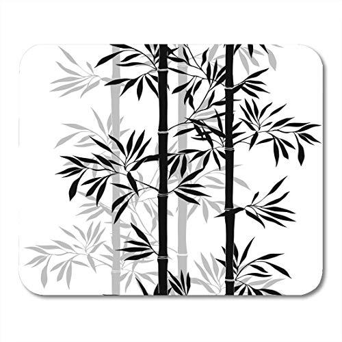 Mauspads Silhouette Schwarzer Baum Bambusblatt Blumen mit Blättern Weißer Zweig Zeichnung Mauspad für Notebooks, Desktop-Computer Mausmatten, Büromaterial
