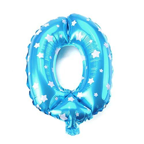 Globo de aluminio de 16 pulgadas Globos azules/rosados número feliz cumpleaños Feliz año nuevo Halloween Decoración navideña(10Azul)