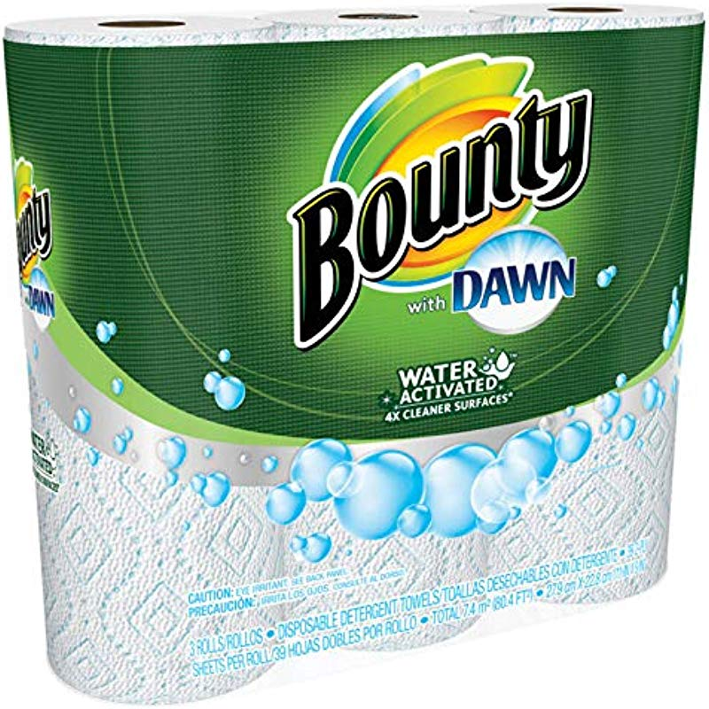 Bounty With Dawn Water Activated Detergent Towels 6 Rolls 39 2 Ply Sheets Per Roll