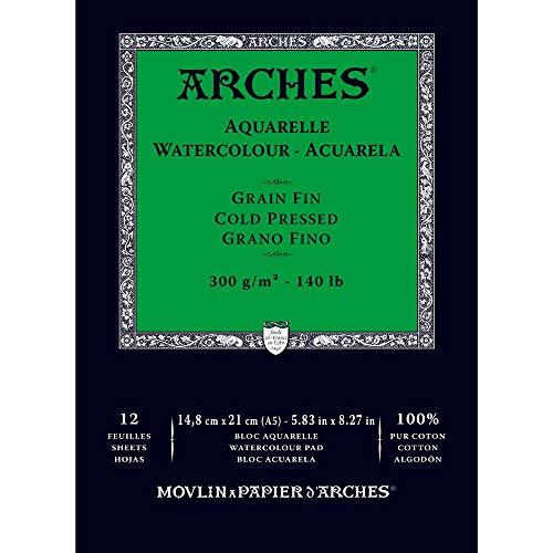 Arches - Papel de acuarela, bloc 12 hojas engomado 1 lado, grano fino, 300 g/m², A5