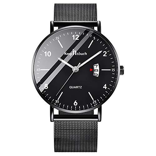 Unendlich U Herren Analog Uhren Slim Minimalist Armbanduhr für Mann Edelstahl Wasserdicht Quarzuhren Arabischen Ziffern-Zifferblatt Datum Mesh-Band 30 M wasserdichte