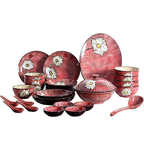 Patrón de flores pintado 26PCS de estilo japonés vidriado sopa Vajilla Platos Olla Cuchara de placas ajustado Domésticos de Cocina Utensilios Mano