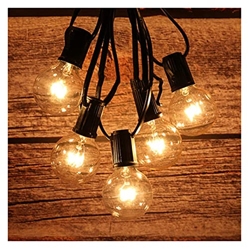 G40 Outdoor String Lights 25ft Garden Fairy Light Bulbs With 25pcs Hanging Socket Waterproof Retro Globe Outdoor Indoor String Light For Patio Garden Party Wedding Decorations (Color : A)